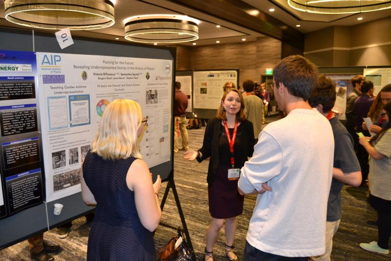 Poster presentations gave students a chance to talk shop with mentors and colleagues.  Photos courtesy of American Institute of Physics.