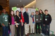 Students pose with plenary speakers John Mather and Freeman Dyson at PhysCon 2012.
