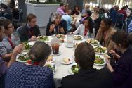 Students with Persis Drell, Dean of Stanford University School of Engineering and former Director of the SLAC National Accelerator Laboratory. Photo by Matt Payne