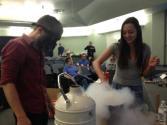 NMT students Chip Dugger and Kelsea Adame make liquid nitrogen ice cream.