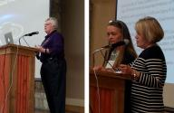 Conference Banquet Friday night at the City Limits Banquet Hall.  ( left) Julie Webster, Program Operations Manager of the Cassini Mission Spacecraft from JPL discuses Cassini's Grand Finale, (right) Karen Jo Matsler presenting the Mary Beth Todd Monroe award to Toni Sauncy