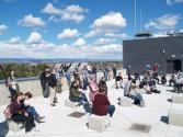 Enjoying sunshine and a view atop the Science II Building