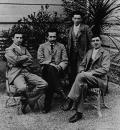 Fig. 1.  Classmates, left to right, Marcel Grossmann, Albert Einstein, Gustav Geissler, and Eugen Grossmann near Zürich, May 28, 1899. Hebrew University of Jerusalem, Albert Einstein Archives, courtesy AIP Emilio Segrè Visual Archives