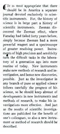 This excerpt is from the editorial which appears in the volume 1, issue 1, January 1930 edition of Review of Scientific Instruments. Photo credit: AIP Publishing.