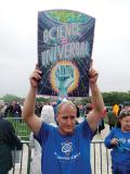 An APS member demonstrates his love for science during the Washington, DC March. Photo courtesy of the American Physical Society.