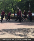 Ted Hodapp and his sword dancing team, Cutting Edge, dancing with swords Ted made with annealed spring steel.