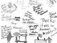 Thank you notes from elementary school children to the Abilene Christian University SPS chapter.